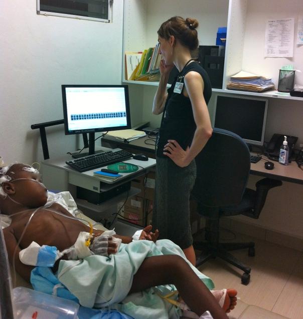 Dr. Joanna EEG on patient